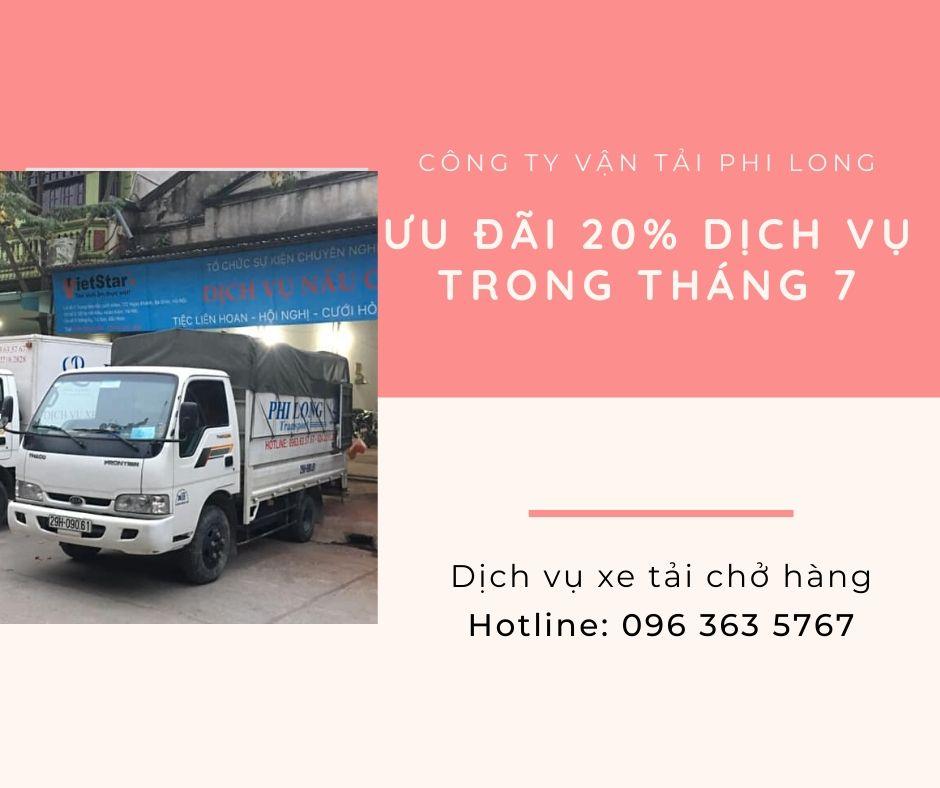 Xe tải chở hàng thuê Phi Long tại xã Quất Động