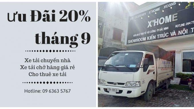 Xe tải chở hàng thuê Phi Long tại xã Minh Tân